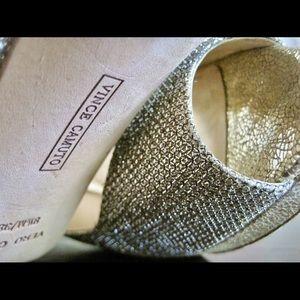 Vince Camuto champagne open-toe slingback heels